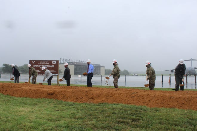 Representatives of Dover Air Force Base, Delaware's congressional delegation, the U.S. Army Corps of Engineers and the construction company Archer Western broke ground at the site of the new $41.2 million maintenance hangar July 31.