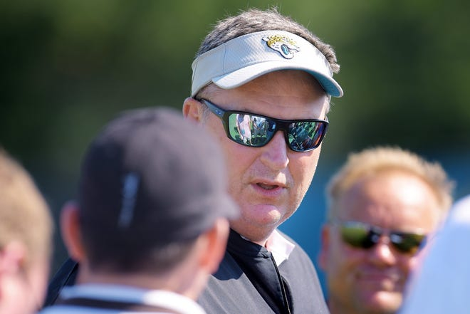 Jaguars head coach Doug Marrone talks with the media before the start of the Jaguars Tuesday's OTA session at the practice fields at TIAA Bank Field, May 21, 2019.  [Bob Self/Florida Times-Union]