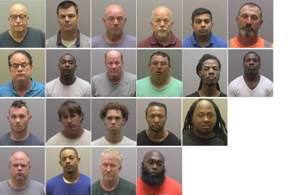 As part of a one-day operation, 21 people were arrested on soliciting prostitution charges. They are pictured in alphabetical order.