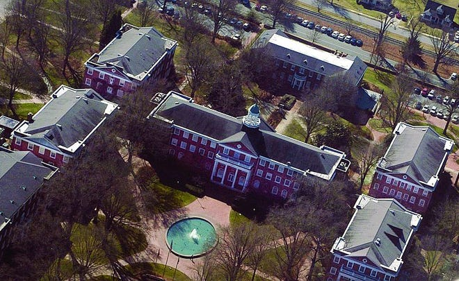 An aerial shot of Elon University. Around two-thirds of Elon's Black student body was represented in Saturday's Black Excellence Awards, which honors academic achievements.