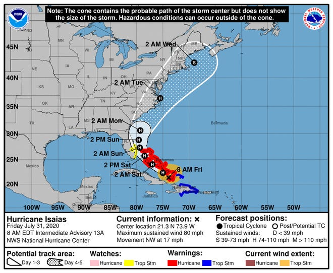 The eye of Hurricane Isaias could be off the Brevard County coast on Sunday.