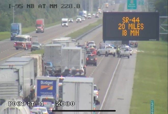A crash on Interstate 95 northbound in Scottsmoor left all lanes of traffic blocked just before 10 a.m. July 31, 2020.