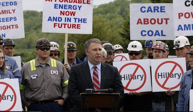 Then-Ohio Republican Chairman Matt Borges was joined by coal miners from Murray Energy Corp. to protest Democratic candidate Hillary Clinton's stance on coal issues as she campaigned in Athens, Ohio, in 2016.