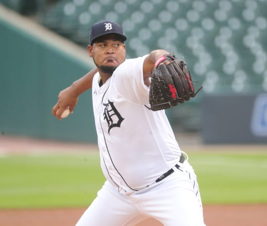 Tigers pitcher Ivan Nova pitches against the Royals during the first inning at Comerica Park on Thursday, July 30, 2020.