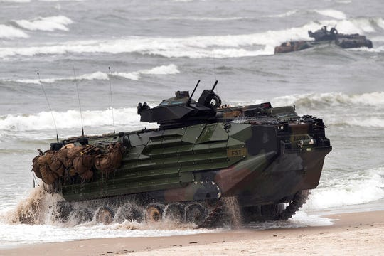 A U.S. Marine Amphibious Assault Vehicle (AAV) takes part in a landing operation during a military Exercise Baltops 2018, at the Baltic Sea near Vilnius, Lithuania, Monday, June 4, 2018. A training accident off the coast of Southern California in an AAV similar to this one has taken the life of one Marine, injured two others and left eight missing Thursday, July 30, 2020.