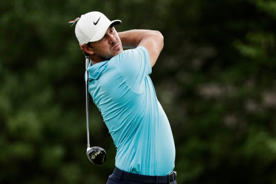 Brooks Koepka watches his tee shot on the 18th hole during the first round of the World Golf Championship-FedEx St. Jude Invitational Thursday, July 30, 2020, in Memphis, Tenn.