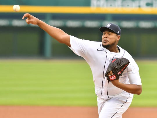 Tigers pitcher Ivan Nova works in the first inning.