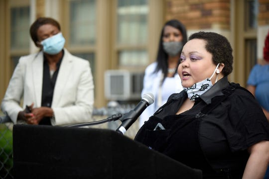 Debrina McNeal speaks during a Detroit Public Schools Community District Reopening of schools parent press conference at the Golightly Education Center in Detroit Friday.