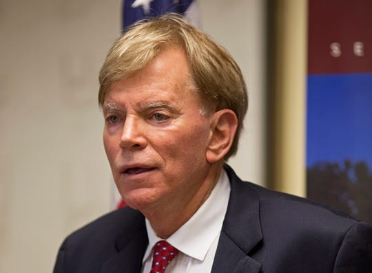 Former Ku Klux Klan leader David Duke talks to the media after registering his candidacy as a Republican in Baton Rouge, La., in this July 22, 2016, file photo.