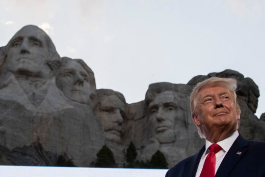 President Donald Trump smiles during a visit to Mount Rushmore National Memorial near Keystone, S.D., on July 3.