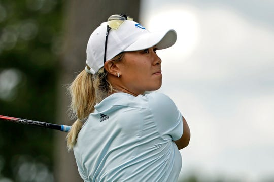 Danielle Kang hits her tee-shot on the eighth hole during the first round of the LPGA Drive On Championship golf tournament Friday at Inverness Golf Club in Toledo, Ohio. Kang finished in the early lead at six-under par.