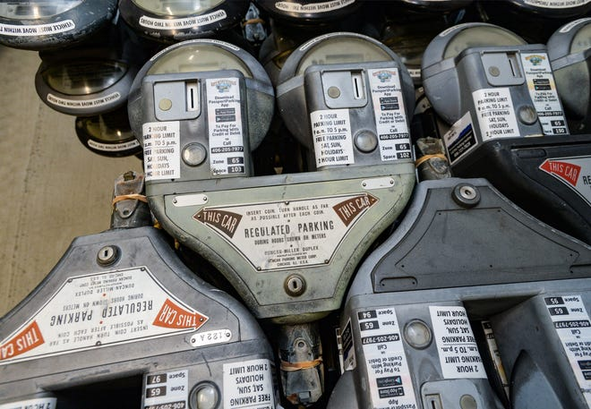 The city removed about 1,000 downtown parking meters in the downtown area earlier this year. They are being kept in storage until a decision is made whether to reinstall them.
