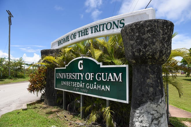 A University of Guam sign located at the UOG Calvo Field House entrance in Mangilao, July 31, 2020.