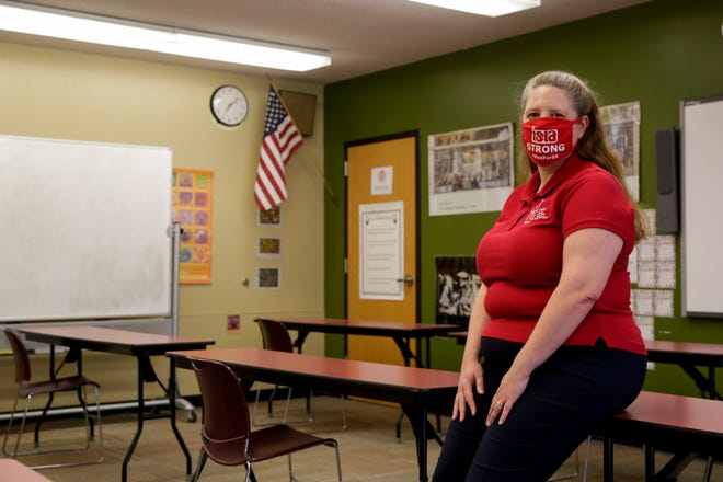 Jennifer Smith-Margraf, a Oakland High School teacher, stands inside her classroom, Friday, July 31, 2020 in Lafayette.