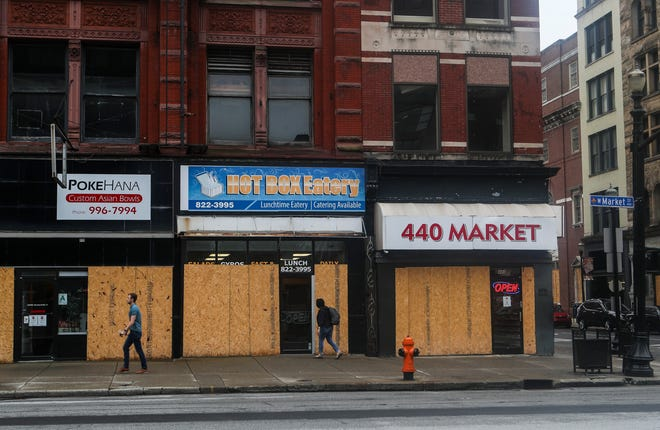 Several businesses remain boarded up after protests sparked looting in the first few days in late May. Since then, the Breonna Taylor protests have been peaceful with little to no property damage. July 31, 2020