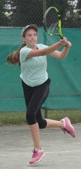Noel Cline of Bellville won the girls 14 title Thursday to go with the girls 12 title she won on Wednesday in the 87th News Journal/Richland Bank Tennis Tournament at Lakewood Racquet Club