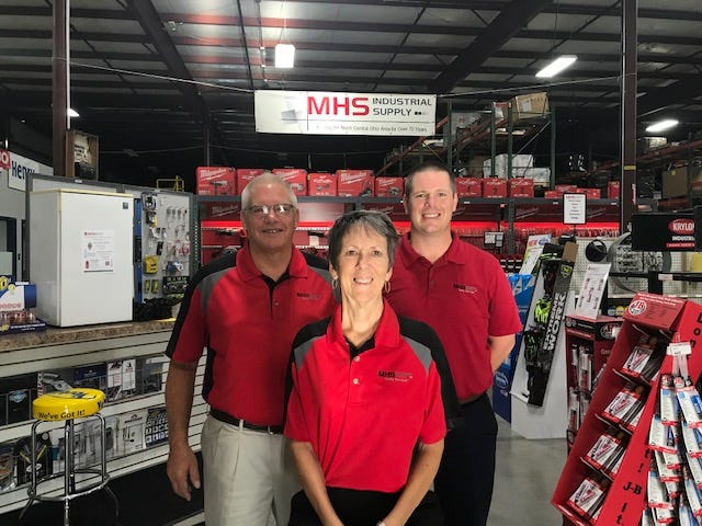 MHS Industrial Supply is celebrating 80 years in Mansfield in August. Left to right are: Phil Downs, president, Ann Downs, CEO, and their son, Brad Downs, sales manager. The company is located at 70 Sawyer Parkway.
