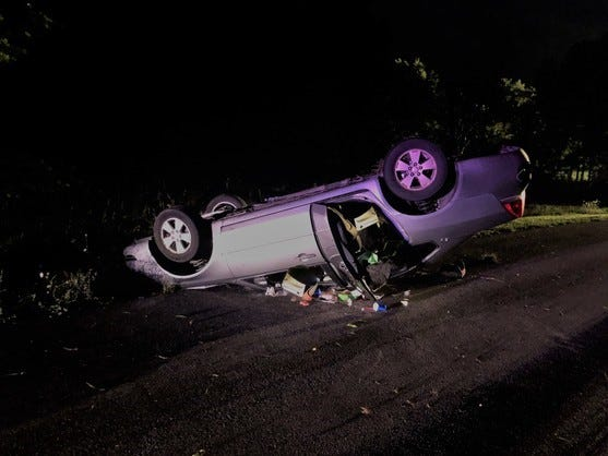 A Henry County man was killed late Thursday when his car left Grant City Road and overturned.