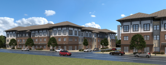 This rendering shows what the Alta Depot development will look like in adding 308 apartments by Smyrna's historic district on the east side of South Lowry Street and north of the town's Fire Station 4.