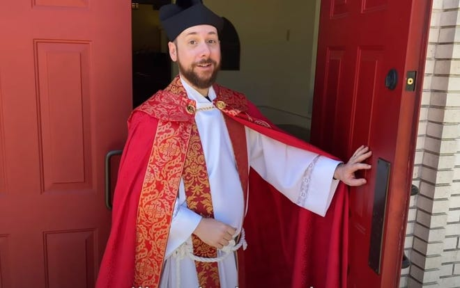 """Rev. Lonnie Lacy's comedic rewrite of Hamilton's """"You'll Be Back"""" has spread far beyond St. Anne's Episcopal Church in Tifton, Ga. The video, originally intended for his church's online talent show, was viewed more than 800,000 times in the first week."""