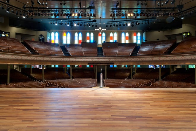 The view from the stage of Nashville's historic Ryman Auditorium.