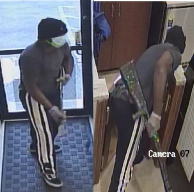 Bloomfield police are searching for a man who struck a Gerard's Deli employee with a rifle during a robbery on July 22.