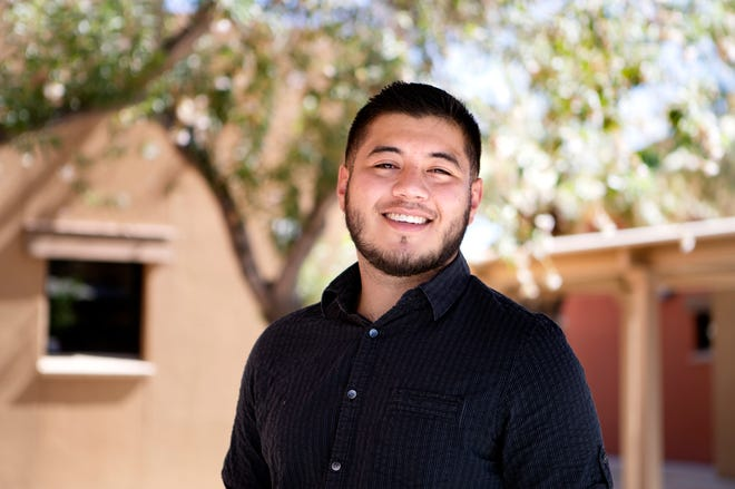 Adonis Galarza-Toledo, 23, is newly appointed to the Coachella Valley Unified School District board of trustees and is the youngest member on the board. Galarza-Toledo is photographed at Oasis Elementary School in Thermal, Calif., on Friday, July 31, 2020, where he attended school.