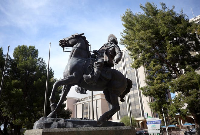 The Pancho Villa statue stands in the Veinte de Agosto Park, 123 West Congress Street, on December 14, 2018. Pancho Villa was a Mexican revolutionary general in the early 1900's.