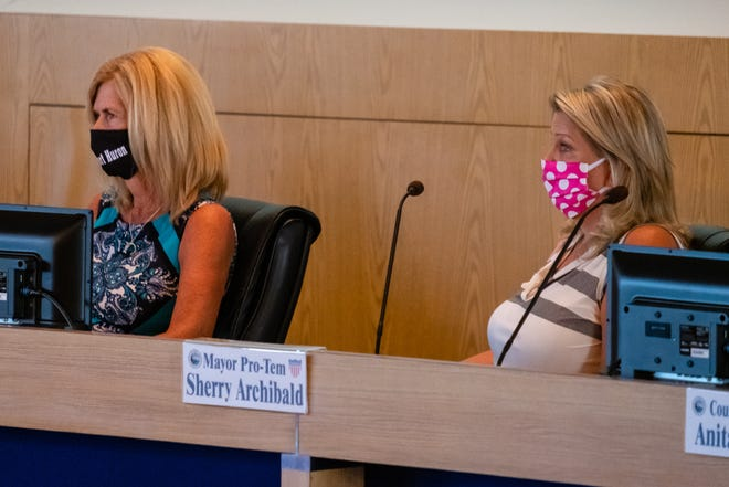 Port Huron Mayor Pauline Repp, left, and Mayor Pro Tem Sherry Archibald attend a joint meeting between the Port Huron City Council and planning commission regarding the use of recreational marijuana Thursday, July 30, 2020, in the Municipal Office Center in Port Huron.
