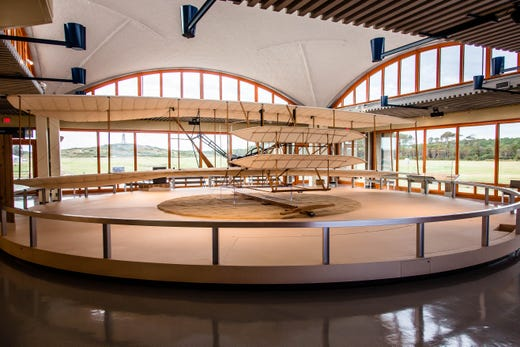 """<a href=""""https://www.nps.gov/wrbr/index.htm""""><strong>Wright Brothers National Memorial</strong></a> &bull; Kill Devil Hills, North Carolina&bull; Site of the first successful, sustained, powered flights in a heavier-than-air machine."""