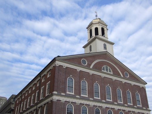 """<a href=""""https://www.nps.gov/bost/learn/historyculture/fh.htm""""><strong>Faneuil Hall</strong></a> &bull; Boston &bull; The site of historic meetings, speeches and debates for 275 years."""