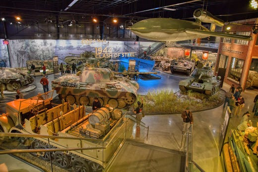 """<a href=""""https://www.americanheritagemuseum.org/""""><strong>American Heritage Museum</strong></a> &bull; Hudson, Massachusetts &bull; Military history museum with extensive collection of vehicles from World War II, as well as exhibits about World War I and other wars."""
