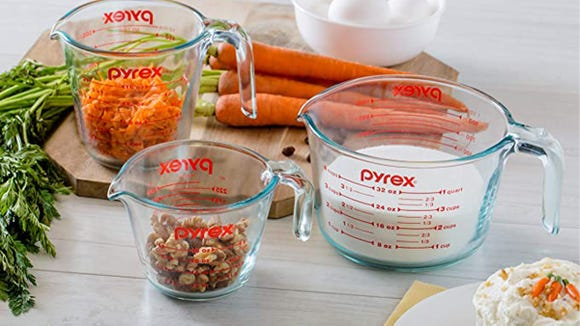 We're obsessed with these Pyrex measuring cups.
