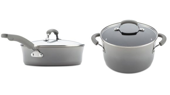 The stockpot and larger sauce pan, pictured here, come in a gorgeous two-toned gray.