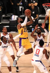 LeBron James goes up for a basket against the Clippers.