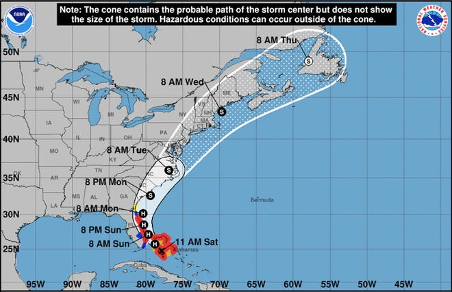 This National Weather Service map issued at 11 a.m. Saturday forecasts the Hurricane Isaias track to primarily impact the Savannah and Lowcountry area Monday.