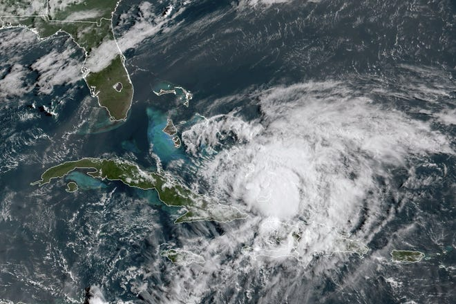 Satellite image of Hurricane Isaias taken at 8:40 a.m. July 31. [Provided by NOAA]