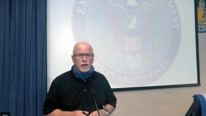 Brevard County Director of Communications Don Walker speaks at a county update about Hurricane Isaias on Saturday afternoon.
