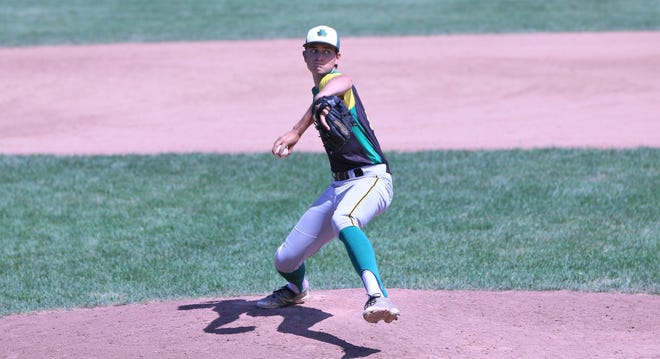 Storm Rushford delivers a pitch for S.D. Ireland in Saturday's semifinal game in the Vermont Summer Baseball League