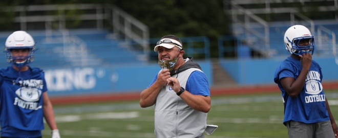 Wyoming head coach Aaron Hancock during practice, Saturday,Aug. 1,  2020.