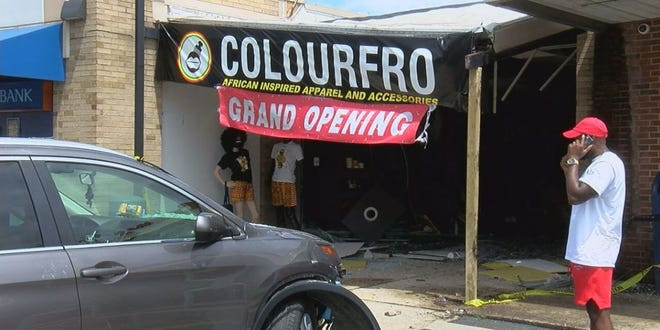 A car drove into the storefront of the newly opened Colourfro clothing store Saturday afternoon.