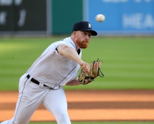 Tigers pitcher Spencer Turnbull pitches against the Reds during the first inning at Comerica Park on Friday, July 31, 2020.
