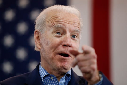 FILE - In this Feb. 22, 2020, file photo, Democratic presidential candidate former Vice President Joe Biden speaks during a caucus night event in Las Vegas.