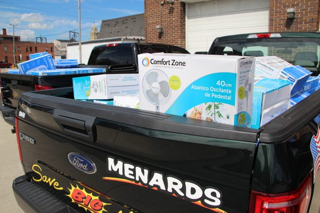 Family, friends, and co-workers of former Menard's store manager Gary Syvertsen donated 104 box fans to the Marion Fire Department and Marion Senior Center on Friday, July 31, 2020. Syvertsen passed away on July 18. The fire department and senior center in turn provide fans to local residents in need at no cost to the residents.