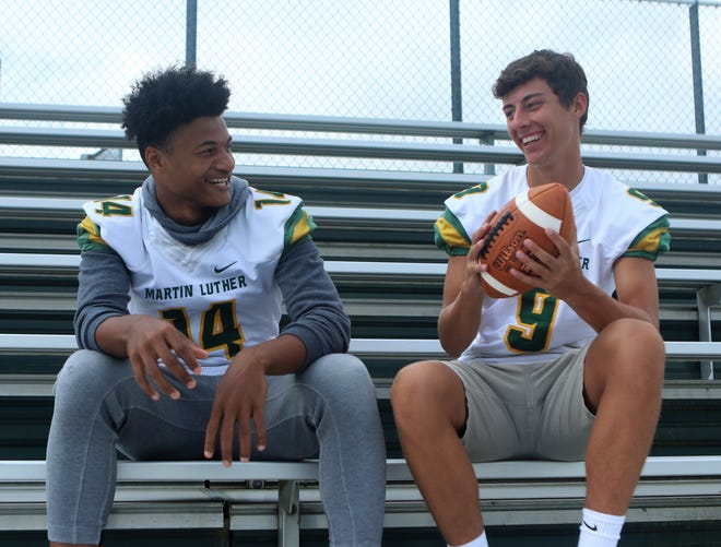 Sylvere Campbell, left, and Brady Hoppert form a potent passing attack duo for the Martin Luther Spartans.