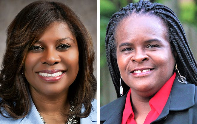 Sen. LaTonya Johnson, left, and challenger Michelle Bryant, right, are running in the Democratic primary for Senate District 6 in Milwaukee.