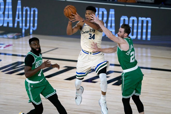 Giannis Antetokounmpo and the Bucks beat the Celtics in two of three meetings last year, including their July 31 game in the bubble.