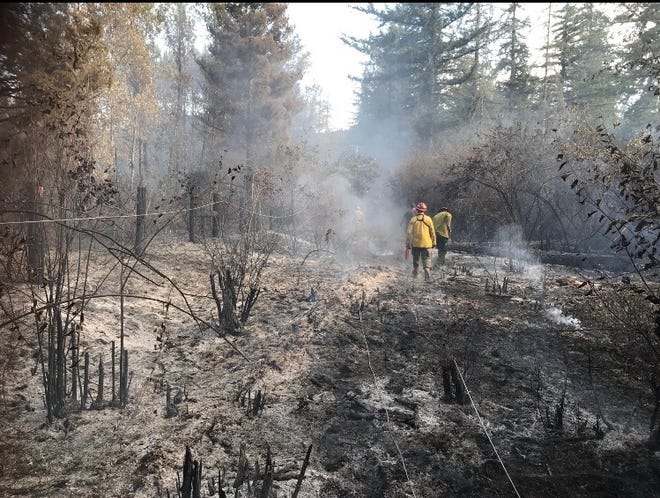 A wildfire burned Fishermen's Bend Recreation Site east of Salem on Friday.