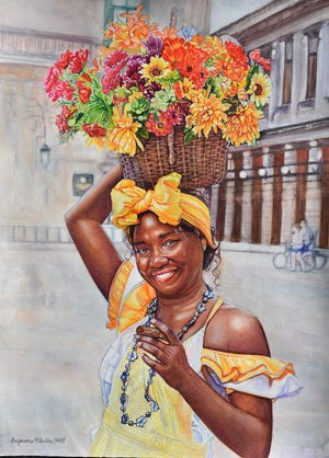 32nd Art in Gadsden Exhibit: Best in Show - Suzanna Winton, Cuban Cigar Lady, 2019, watercolor, 21 x 29 inches, sponsored by Doug Croley Insurance Services.