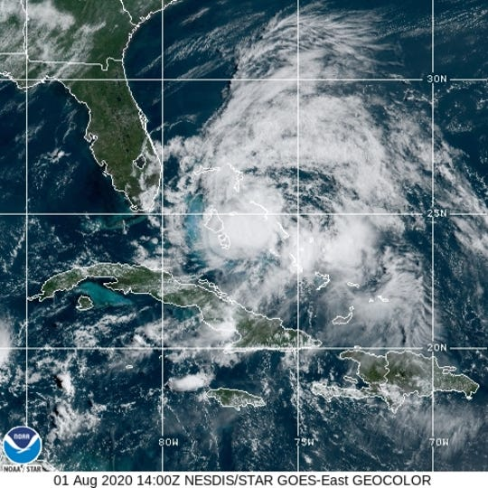 Hurricane Isais approaches the east coast of Florida  Aug. 1, 2020.
